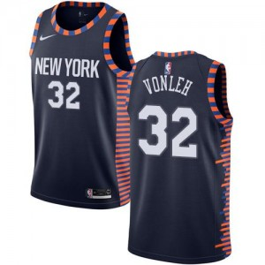 Nike NBA Maillots Basket Noah Vonleh New York Knicks 2018/19 City Edition Enfant #32 bleu marine