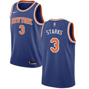 Nike Maillot Basket Starks New York Knicks #3 Homme Bleu royal Icon Edition