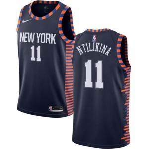 Nike NBA Maillots Frank Ntilikina New York Knicks 2018/19 City Edition Enfant #11 bleu marine