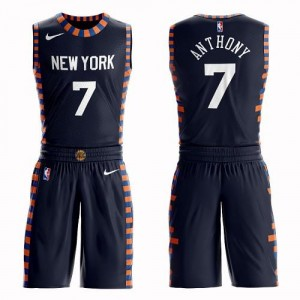 Maillots De Anthony New York Knicks bleu marine Nike Homme #7 Suit City Edition