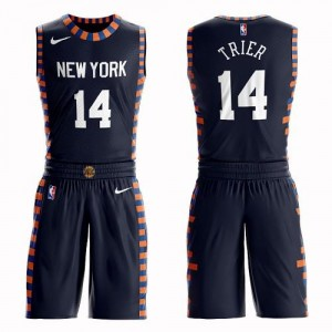Nike Maillots De Trier New York Knicks Enfant bleu marine No.14 Suit City Edition