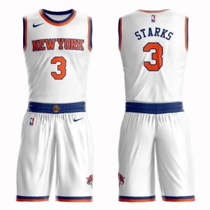 Maillot De Basket John Starks New York Knicks Homme Suit Association Edition Nike Blanc #3