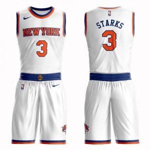 Nike NBA Maillots Basket Starks New York Knicks Blanc No.3 Enfant Suit Association Edition