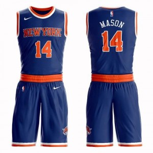Nike NBA Maillots Anthony Mason Knicks Homme Bleu royal No.14 Suit Icon Edition