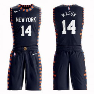 Nike NBA Maillots De Mason Knicks #14 Suit City Edition bleu marine Homme