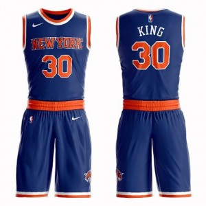 Nike NBA Maillots De Basket Bernard King Knicks Homme Bleu royal #30 Suit Icon Edition