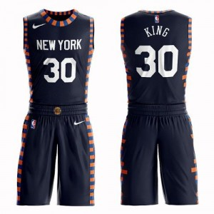 Nike Maillot De Basket Bernard King Knicks #30 Homme bleu marine Suit City Edition