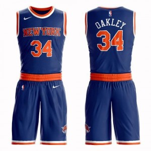 Maillot De Basket Charles Oakley Knicks Suit Icon Edition No.34 Homme Bleu royal Nike