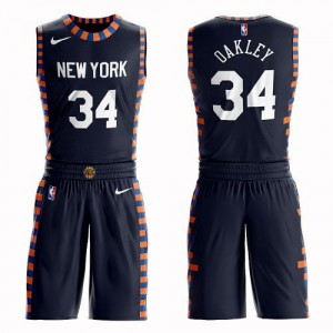 Nike Maillots Basket Charles Oakley New York Knicks Suit City Edition #34 Homme bleu marine