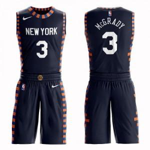 Maillot De Basket McGrady Knicks #3 Nike Suit City Edition bleu marine Enfant