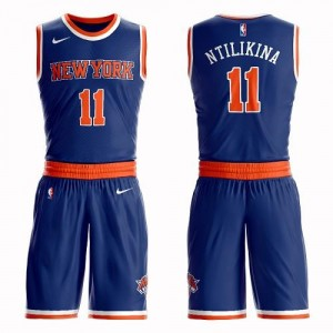 Nike NBA Maillots De Basket Frank Ntilikina Knicks Suit Icon Edition Enfant #11 Bleu royal