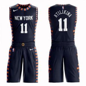 Maillot Frank Ntilikina Knicks bleu marine Enfant Nike Suit City Edition No.11