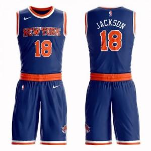 Nike NBA Maillots Basket Jackson Knicks Suit Icon Edition Enfant Bleu royal No.18