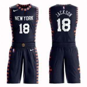 Nike NBA Maillots Basket Jackson Knicks bleu marine #18 Enfant Suit City Edition