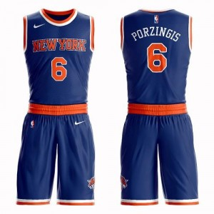 Maillots Kristaps Porzingis New York Knicks Bleu royal Nike Enfant Suit Icon Edition #6