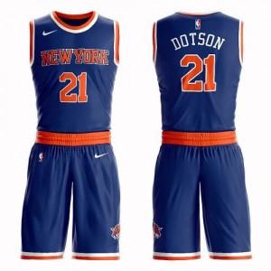 Nike NBA Maillots Basket Dotson Knicks No.21 Enfant Bleu royal Suit Icon Edition