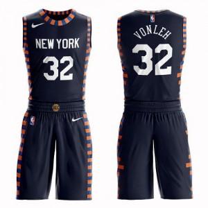 Nike Maillot De Noah Vonleh Knicks Suit City Edition #32 bleu marine Enfant