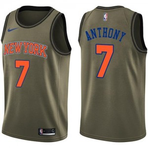 Nike Maillot Carmelo Anthony Knicks Salute to Service Homme vert #7