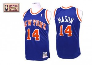 Maillots Anthony Mason New York Knicks Homme Throwback Bleu royal Mitchell and Ness No.14