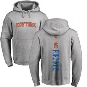 Nike Sweat à capuche Porzingis New York Knicks No.6 Ash Backer Homme & Enfant Pullover