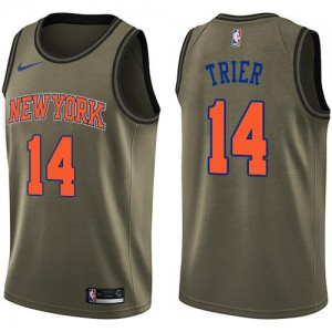 Nike Maillots De Allonzo Trier New York Knicks #14 Homme vert Salute to Service