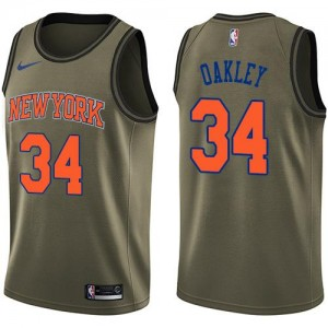 Nike NBA Maillot Basket Charles Oakley Knicks vert No.34 Homme Salute to Service