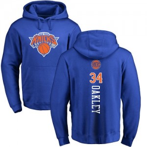 Sweat à capuche De Basket Charles Oakley Knicks No.34 Homme & Enfant Pullover Nike Bleu royal Backer