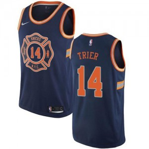 Nike NBA Maillot Basket Allonzo Trier Knicks City Edition #14 Homme bleu marine