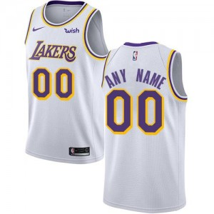 Maillot Personnaliser Basket Los Angeles Lakers Association Edition Nike Blanc Enfant