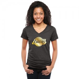 NBA T-Shirt LA Lakers Noir Gold Collection V-Neck Tri-Blend Femme