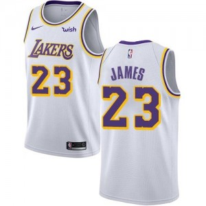 Nike Maillot LeBron James LA Lakers #23 Enfant Association Edition Blanc
