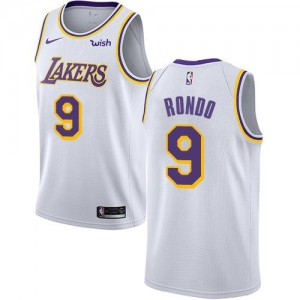 Maillots Rondo Los Angeles Lakers Association Edition Nike Blanc Homme No.9