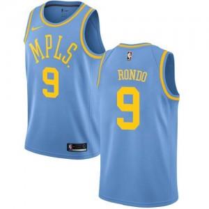 Maillot Rondo Los Angeles Lakers No.9 Homme Nike Hardwood Classics Bleu