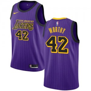 Nike NBA Maillot Basket Worthy LA Lakers Violet Homme City Edition No.42