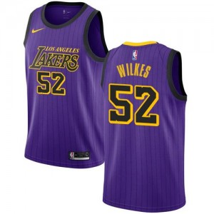 Nike NBA Maillots Jamaal Wilkes Los Angeles Lakers Enfant City Edition #52 Violet