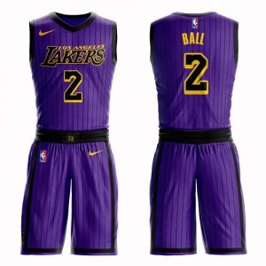 Nike NBA Maillots Basket Lonzo Ball Lakers Suit City Edition Homme #2 Violet