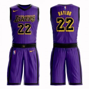 Nike Maillot Basket Baylor LA Lakers Homme Suit City Edition #22 Violet