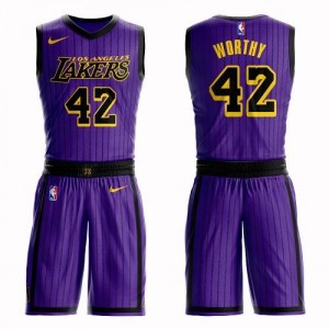 Nike NBA Maillot Basket Worthy Los Angeles Lakers Violet Homme Suit City Edition No.42