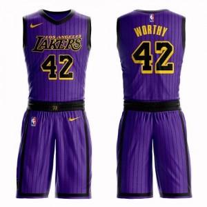 Nike Maillot De James Worthy Los Angeles Lakers Violet Suit City Edition Enfant #42