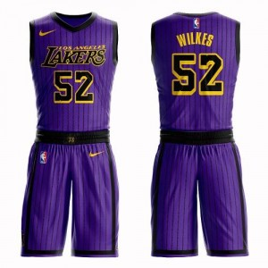 Nike NBA Maillots Basket Wilkes Lakers Suit City Edition #52 Enfant Violet