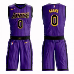 Maillot Basket Kyle Kuzma Lakers #0 Violet Homme Suit City Edition Nike