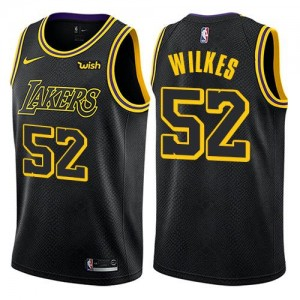 Maillot Basket Jamaal Wilkes Los Angeles Lakers #52 Noir Homme City Edition Nike