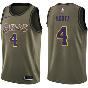 Maillot Basket Byron Scott LA Lakers Nike vert Enfant No.4 Salute to Service