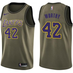 Nike Maillots Basket James Worthy LA Lakers Homme vert Salute to Service #42