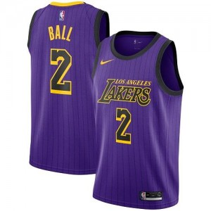 Maillots De Basket Ball Lakers Violet #2 Nike Homme City Edition