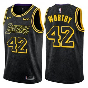 Nike NBA Maillots De Basket James Worthy Los Angeles Lakers No.42 Noir Homme City Edition