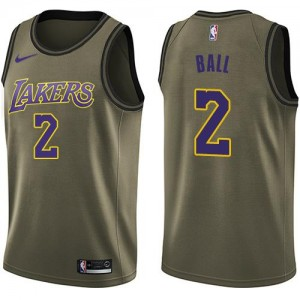 Maillots Lonzo Ball Los Angeles Lakers Salute to Service No.2 Nike Homme vert