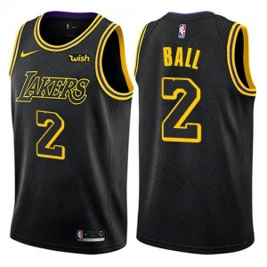Maillots Basket Ball Lakers Enfant City Edition Noir No.2 Nike