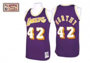 Mitchell and Ness Maillot James Worthy LA Lakers #42 Homme Throwback Violet