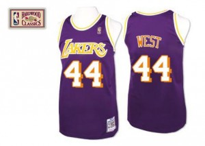 Maillot Jerry West Lakers Violet No.44 Homme Throwback Mitchell and Ness